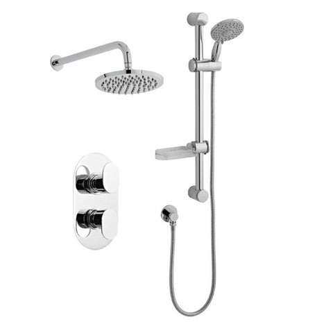 Loving Thermostatic Concealed Shower Valve with Adjustable Slide Rail Kit and Overhead Drencher Style Shower Head