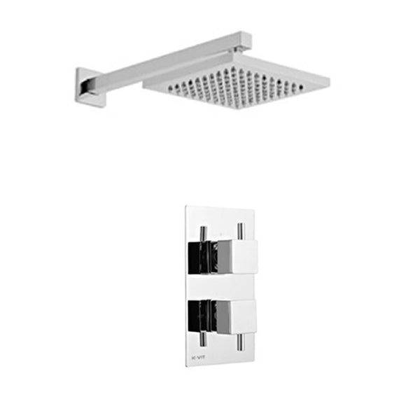 Prosper Thermostatic Concealed Shower Valve with Fixed Overhead Drencher Shower Head
