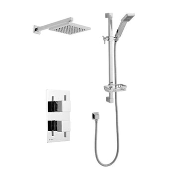 Prosper Thermostatic Concealed Shower Valve with Adjustable Slide Rail Kit and Overhead Drencher Style Shower Head