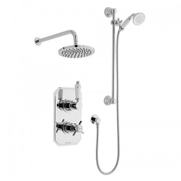 Timeless Thermostatic Concealed Shower Valve with Adjustable Slide Rail Kit and Overhead Drencher Style Shower Head
