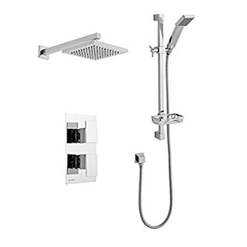 Elation Thermostatic Concealed Shower Valve with Adjustable Slide Rail Kit and Overhead Drencher Style Shower Head