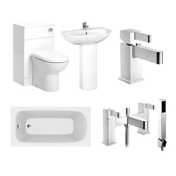 Fulcio Furniture WC Unit with Basin and Pedestal Complete Bathroom Suite