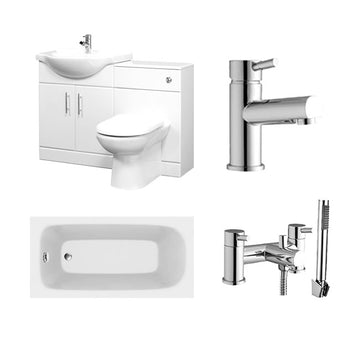 Fundo Furniture WC and Vanity Basin Complete Bathroom Suite