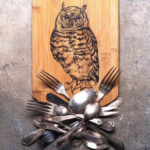Hawk Owl Bamboo Cutting Board