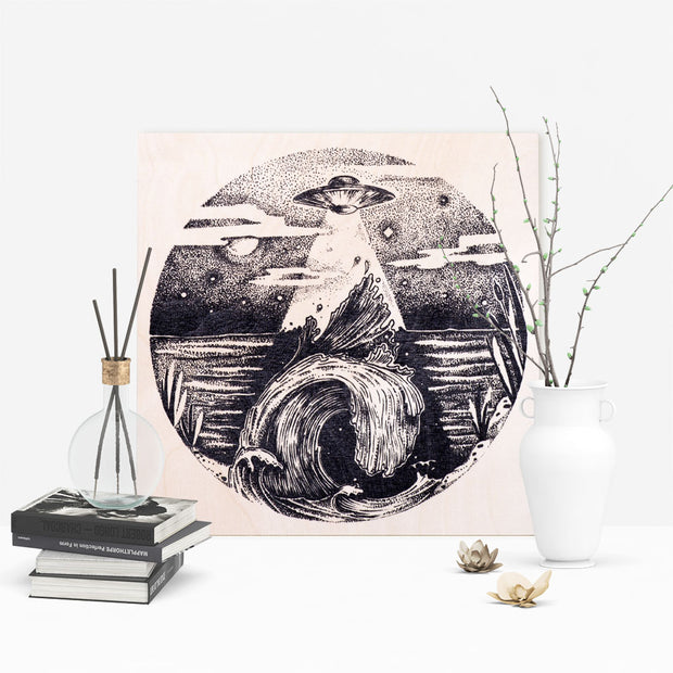 UFO Flying over the Water Wooden Poster - schmoo.shop