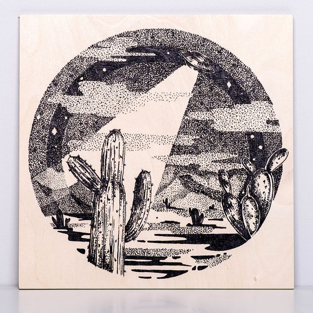 UFO Flying over the Desert Wooden Poster - schmoo.shop