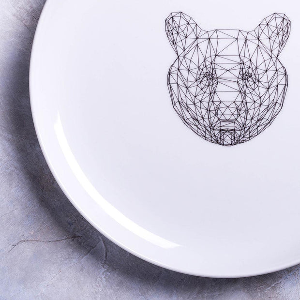 Geometric Bear Dinner Plate - schmoo.shop