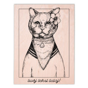 Lady British Cat Wooden Poster - schmoo.shop