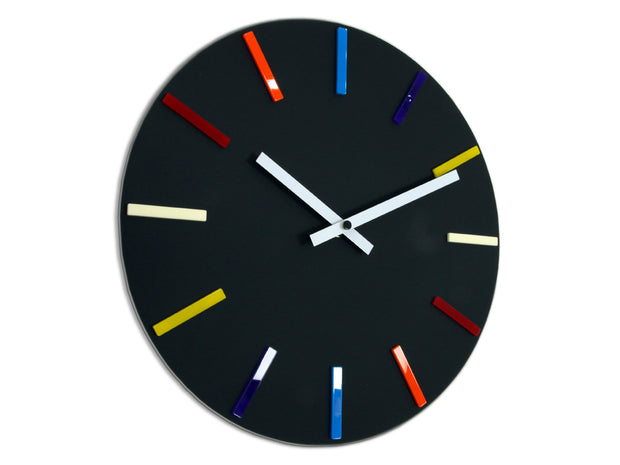 Colourful Black Wall Clock - schmoo.shop