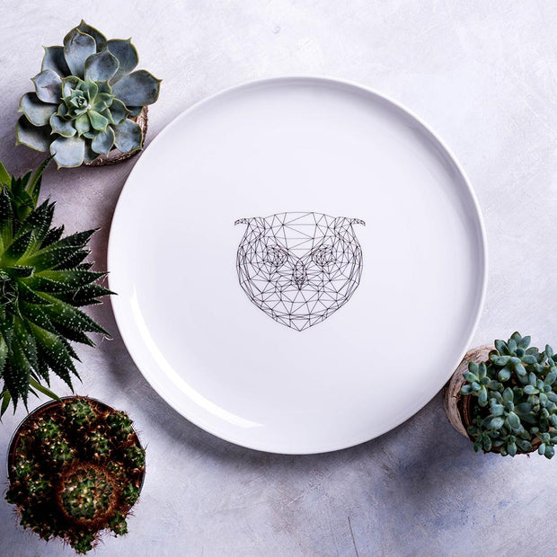 Geometric Owl Dinner Plate - schmoo.shop