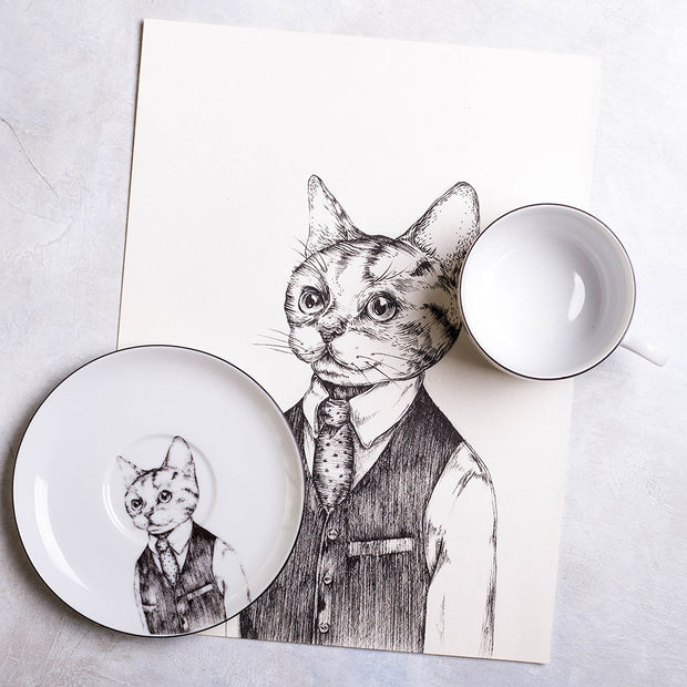 European Wild Cat Cup & Saucer - schmoo.shop