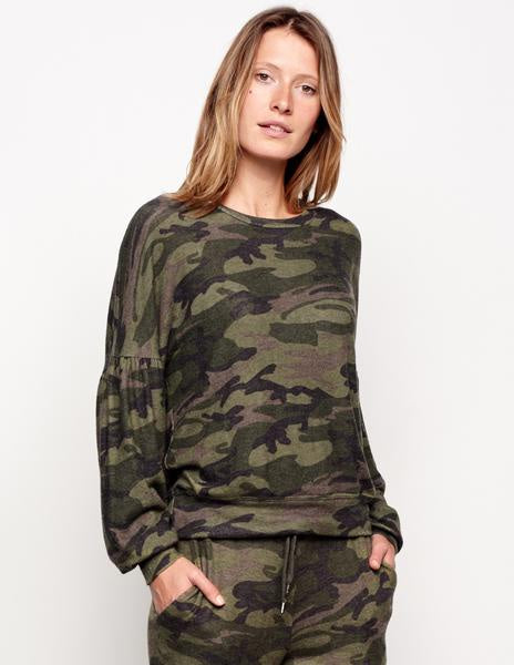 Sundry | Camo Balloon Sleeve Sweater