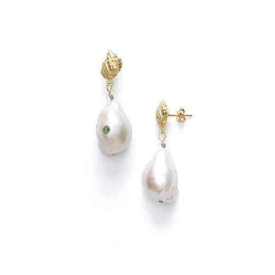 Anni Lu | Baroque Pearl Shell Earring Set - Green Agate