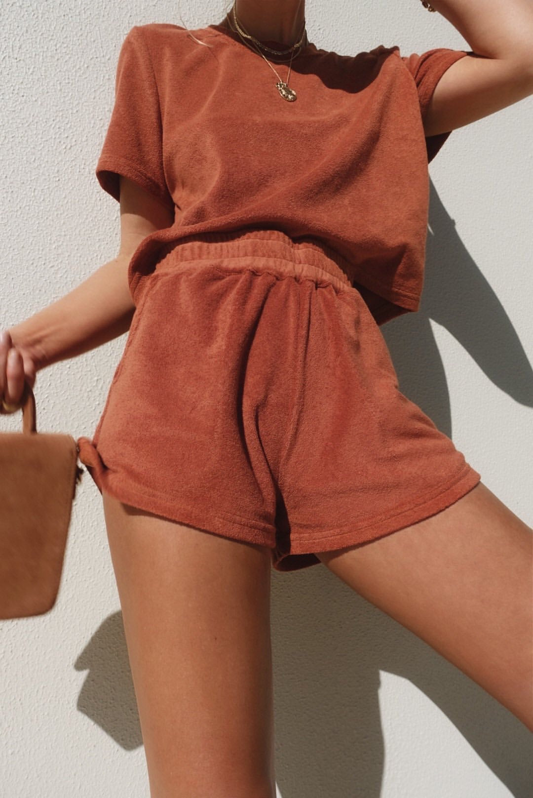 Araminta | S/S Long Shorts Terry Towelling Set - Rust - PREORDER