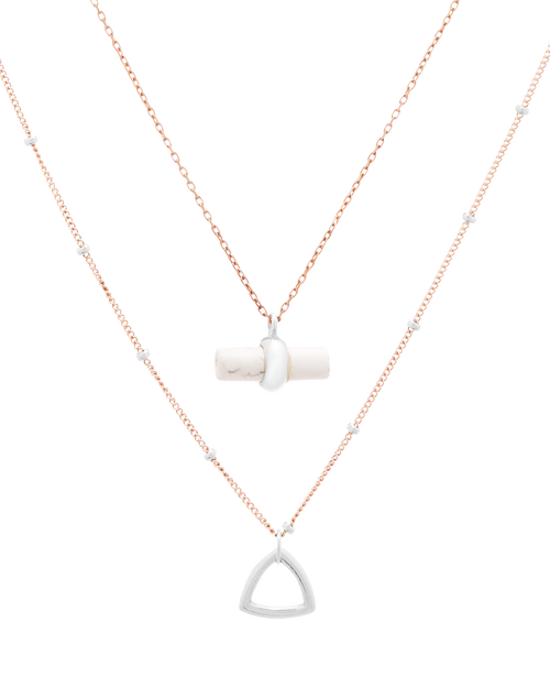 CA Jewellery | Silver & Rose Necklace Pair with Howlite