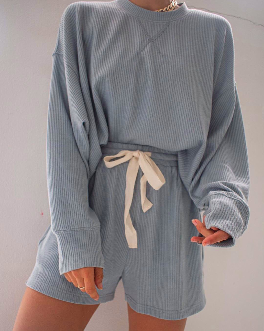 Araminta James | Waffle L/S Lounge Set - Ocean  Blue