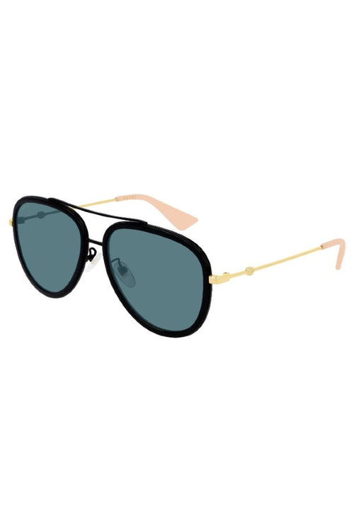 Gucci | Black and Gold Aviator with Blue Lens