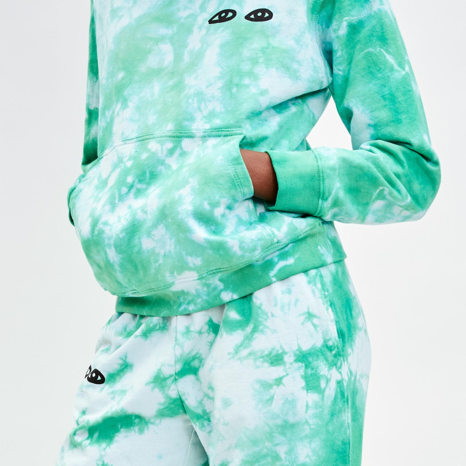 Clare V. | Cloud Tie-Dye with Eyes Hoodie - Blue/Green