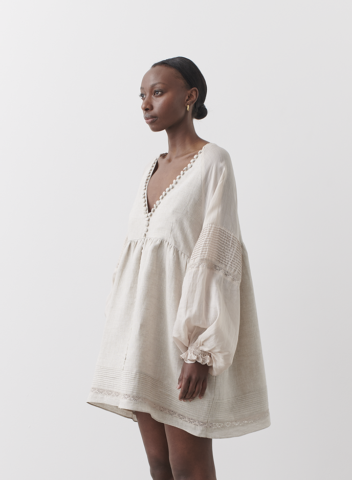 Joslin | Lillian Linen RamieSmock Dress / Flax