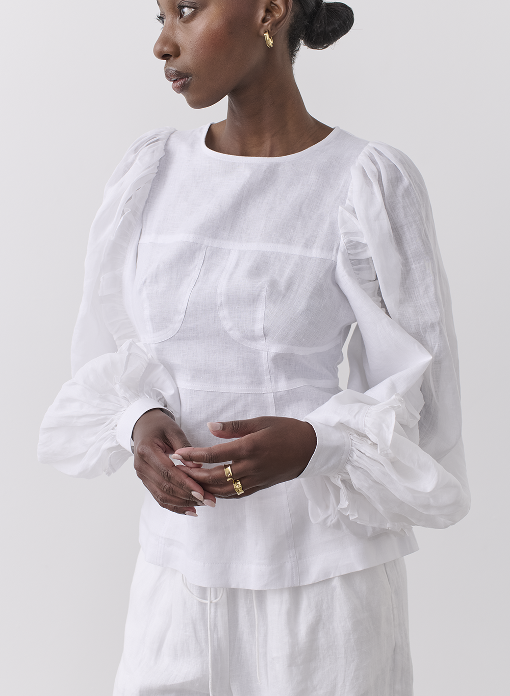 Joslin | Marva Linen Ramie Blouse - Optical White
