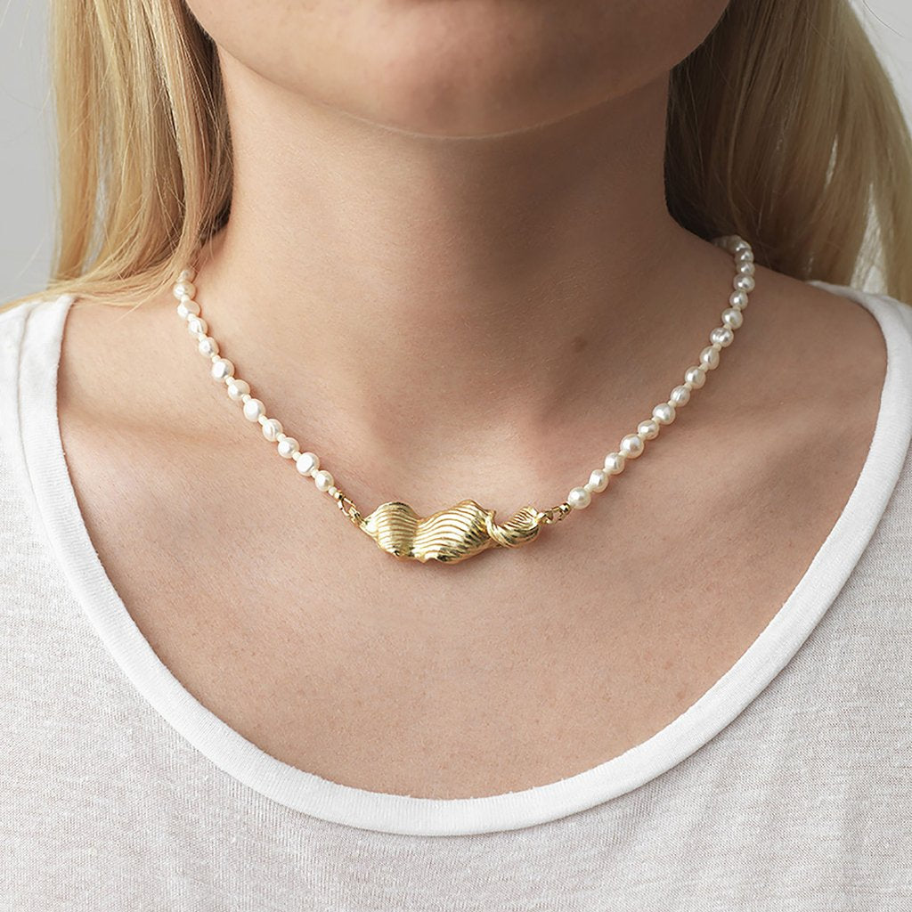 Anni Lu | Seaweed Pearly Necklace - Gold