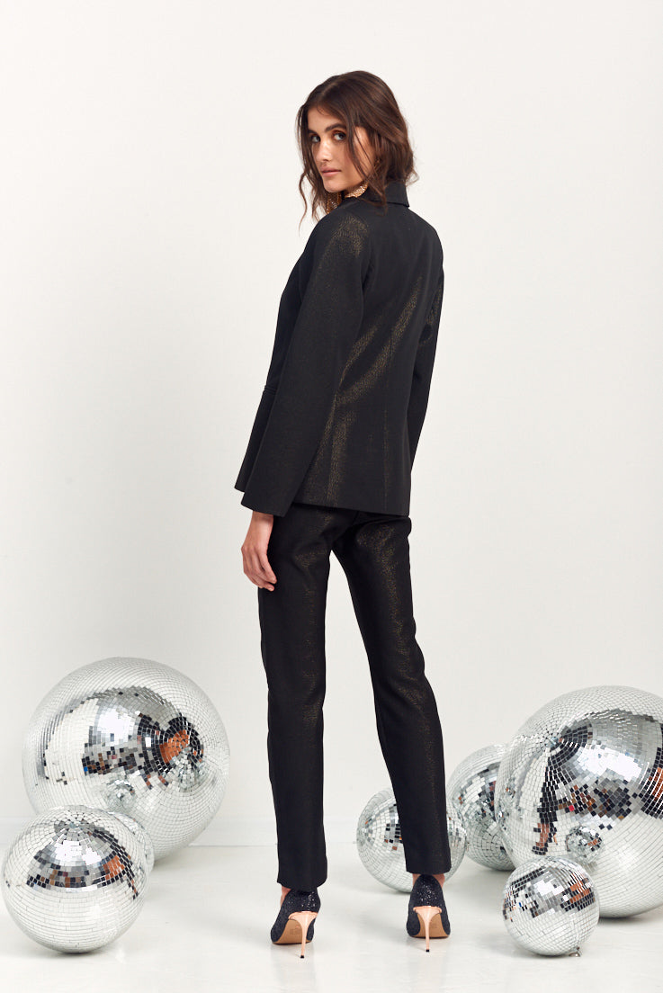 Le Stripe | Smoking Tuxedo Jacket - Black Glitter