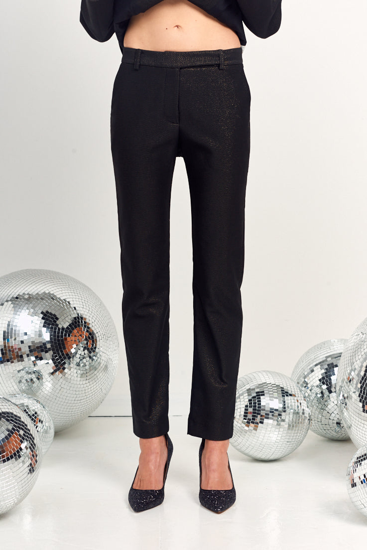 Le Stripe | Smoking Tuxedo Pant - Black Glitter