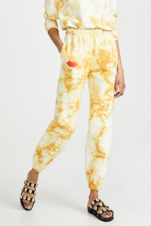 Clare V. | Cloud Tie-Dye with Lips Sweatpants - Marigold