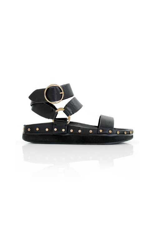 La Tribe | Studded Sandal - Black/Gold