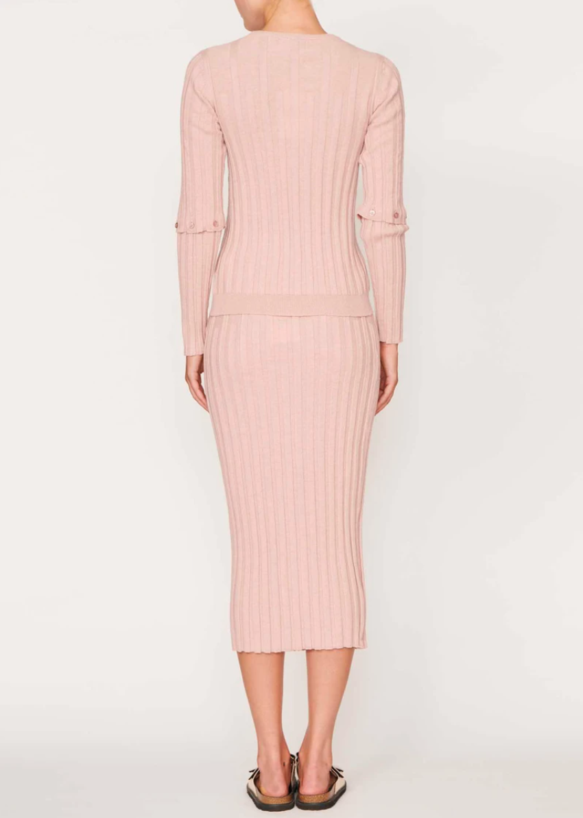 APT | Lou Button Sleeve Rib Knit - Pink