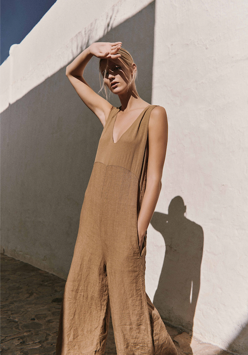 Transit | Linen jumpsuit w/ georgette top