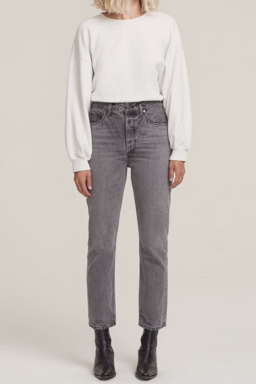AgoldE | Riley High Rise Straight Crop Jean - Inkjet
