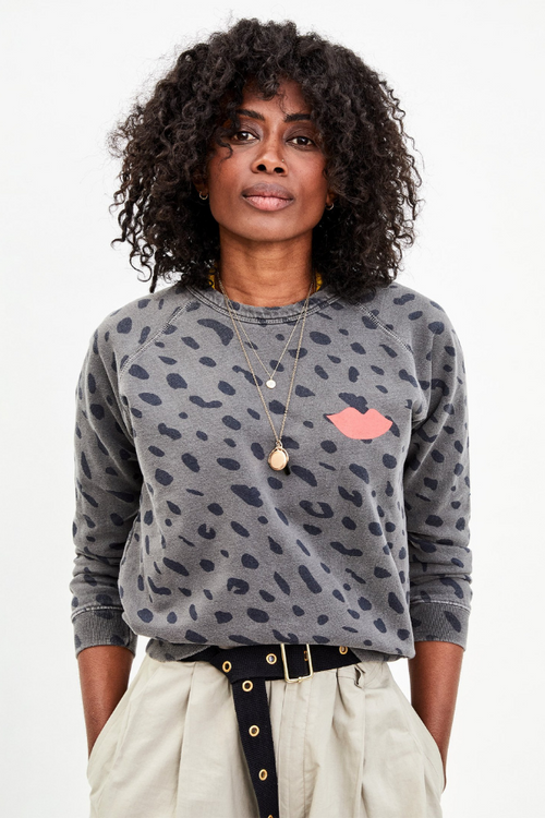 Clare V. | Jaguar Sweatshirt with Lips - Faded Black