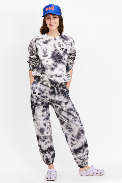 Clare V. | Cloud Tie-Dye with Eyes Sweatpants - Black