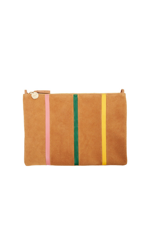 Clare V. | Flat Clutch with Tabs - Camel Suede with Strips