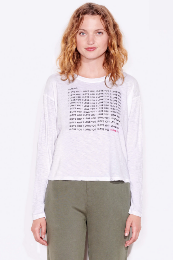 Sundry | Darling I Love You Boxy Long Sleeve - White
