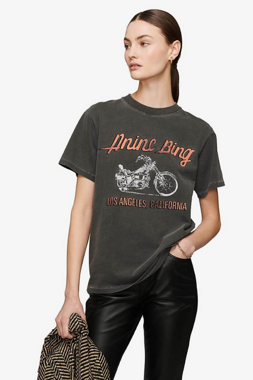 Anine Bing | Lili Tee Motorcycle - Washed Grey