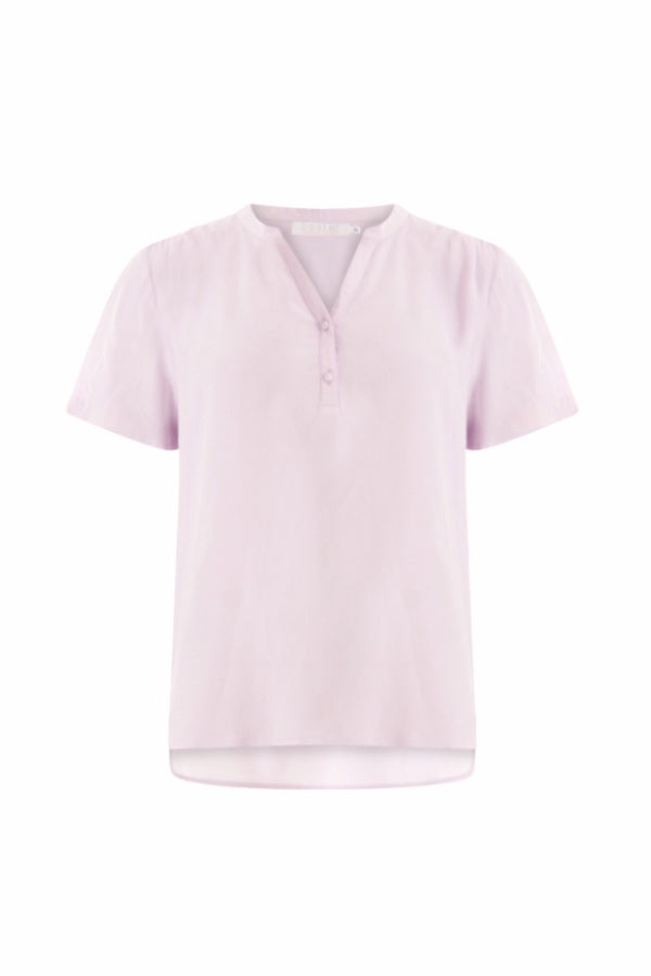 Coster | T shirt with V-Neck and Button Detail - Soft lavender