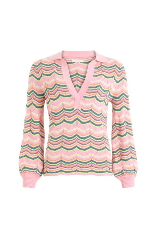Coster | Knit with Ribbed Cuffs - Pink Multi Stripe