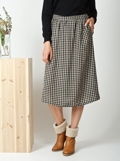 Indi & Cold | Loose Checked Wool Skirt