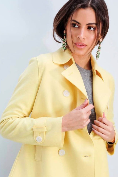 Harris Wharf | Cropped Trench Coat - Pastel Yellow