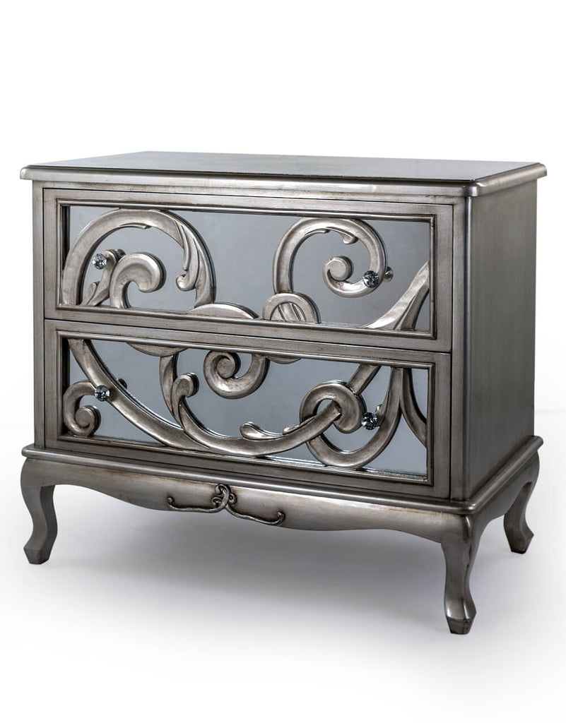 Silver Mirrored Lacquered Chest of Drawers