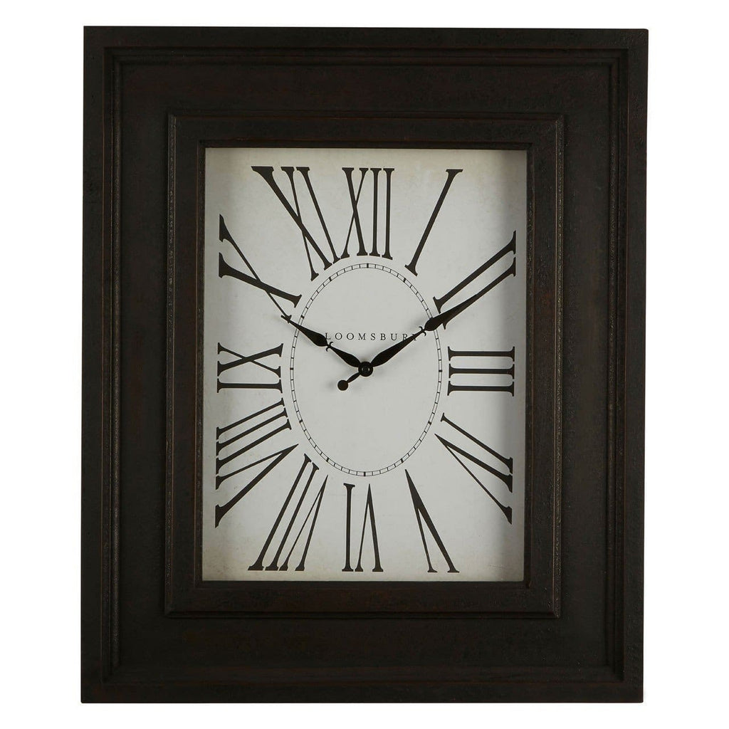Antique Distressed Black Wood Wall Clock - Clock