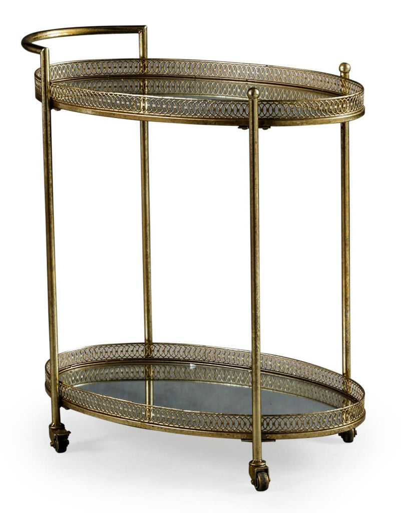 Antique Gold Metal Trolley - Drinks Trolley Bar Table