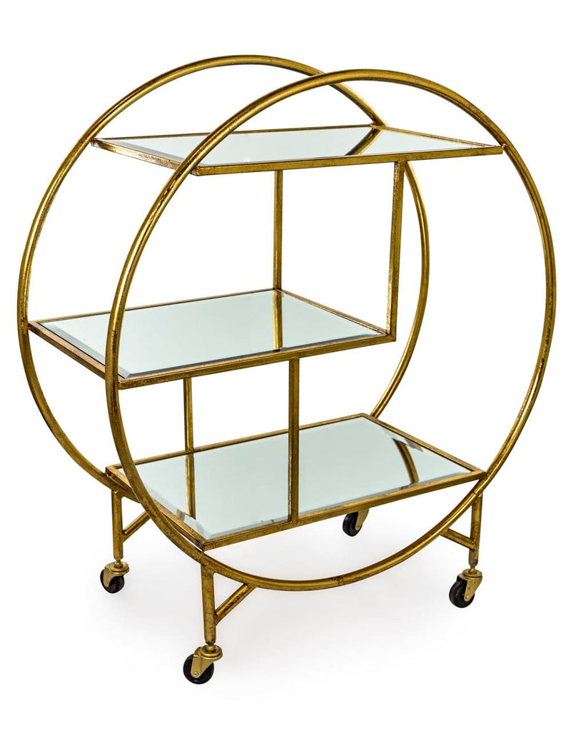 Antique Gold/Bronze Leaf Metal Bar Trolley with Mirror Shelves - Drinks Trolley Bar Table