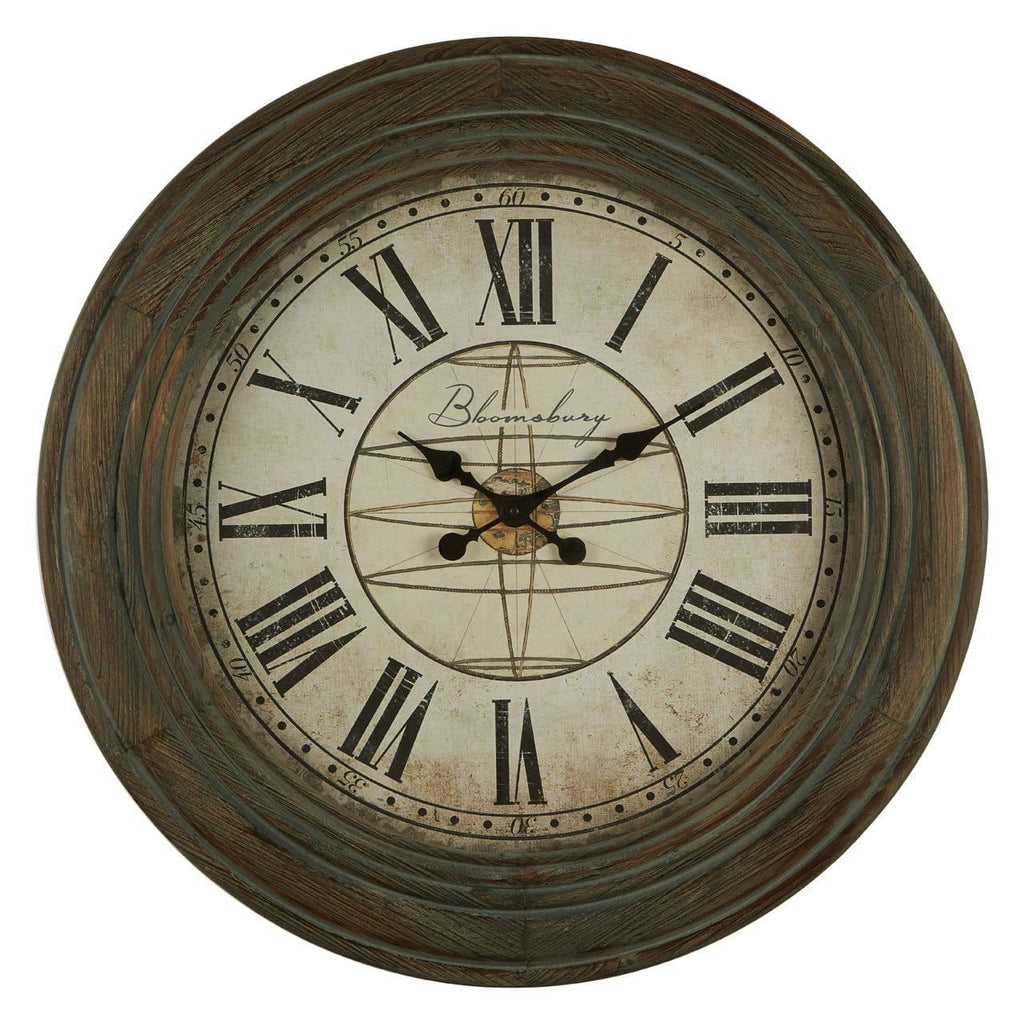 Antique Washed Grey Wood Wall Clock - Clock
