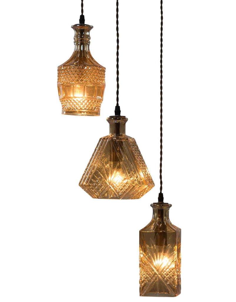Antiqued 3 Piece Glass Decanter Pendant - Pendant Light