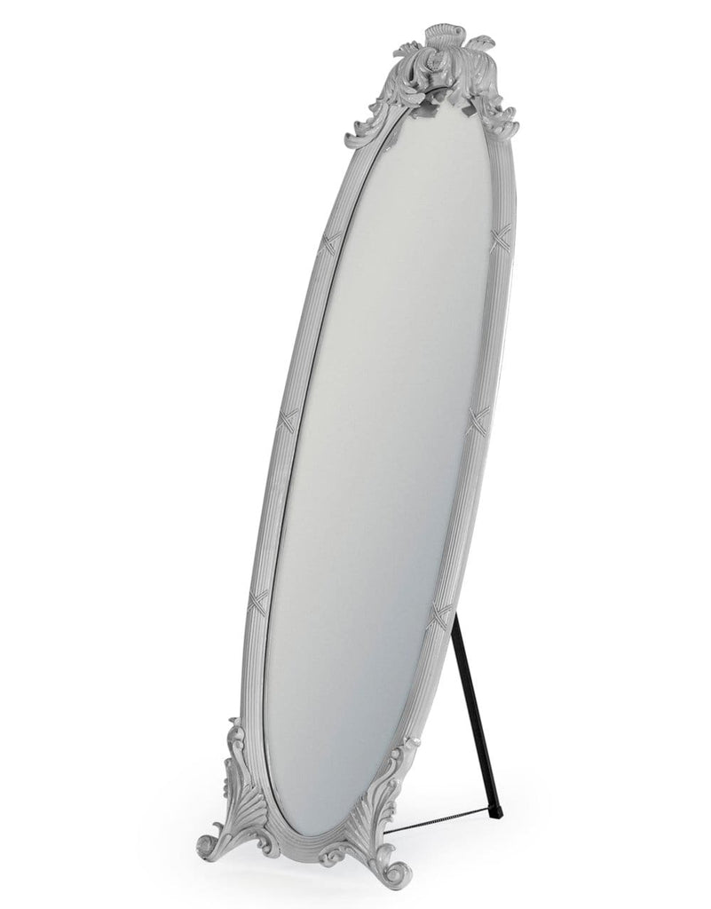 Antiqued Cream Dressing Mirror on Stand - Mirror