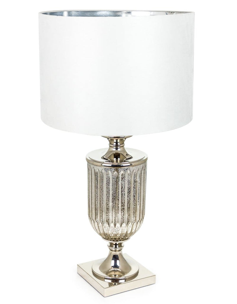 Antiqued Glass Urn Lamp with Silver Velvet Cylinder Shade - Table Lamp
