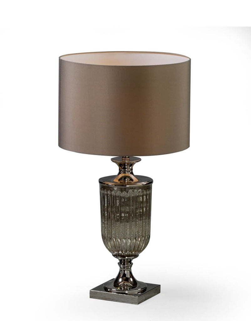 Antiqued Glass Urn Lamp with Taupe Cylinder Shade - Table Lamp